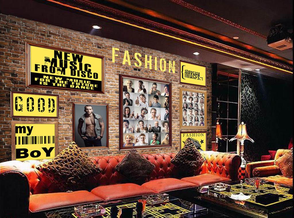 服装店男装店时尚背景画框欧美背景咖啡背景砖墙背景