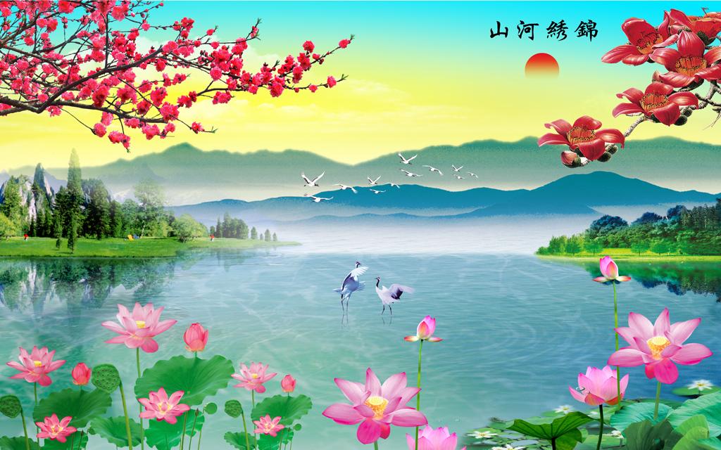 荷花桃花山水风景画喷绘写真模板