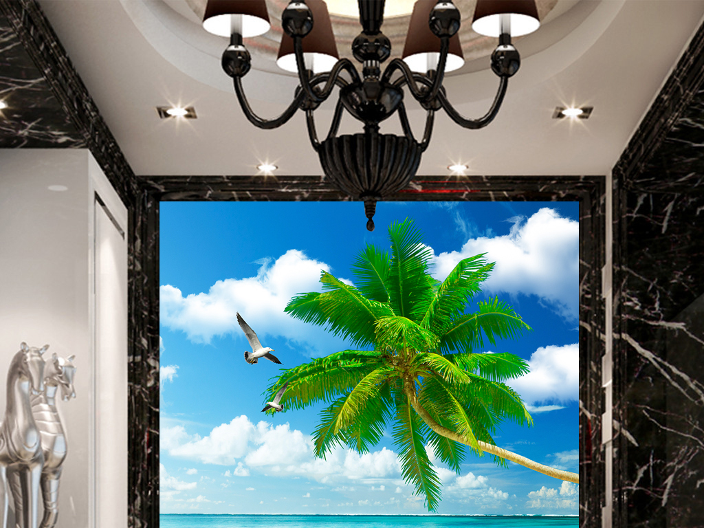 蓝天白云大海椰树木桥玄关过道背景墙