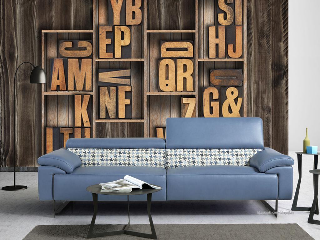 复古木框立体字母3d背景墙