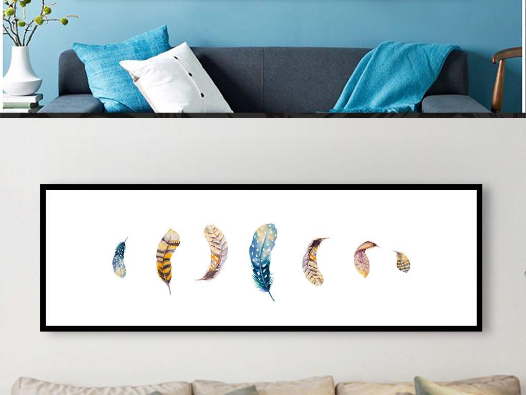 北欧简约创意手绘羽毛横幅装饰画
