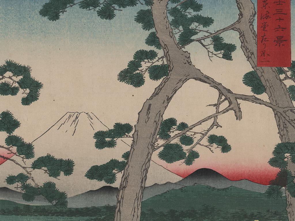复古日本树木田园风光玄关背景墙