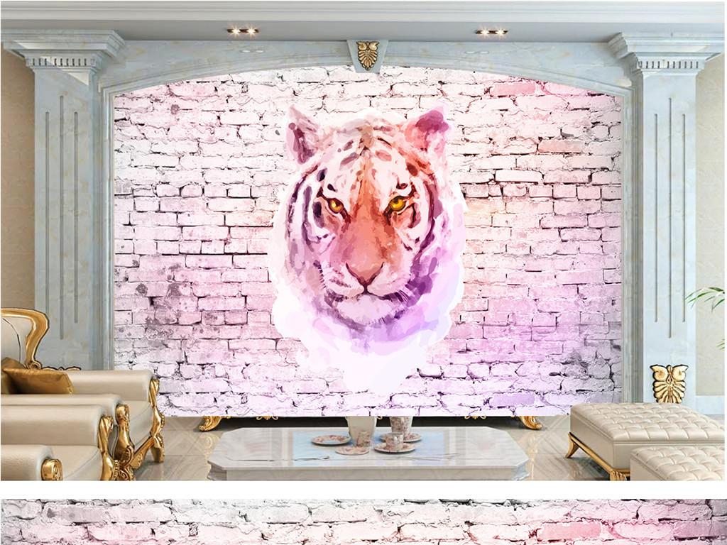 手绘水彩老虎复古背景墙