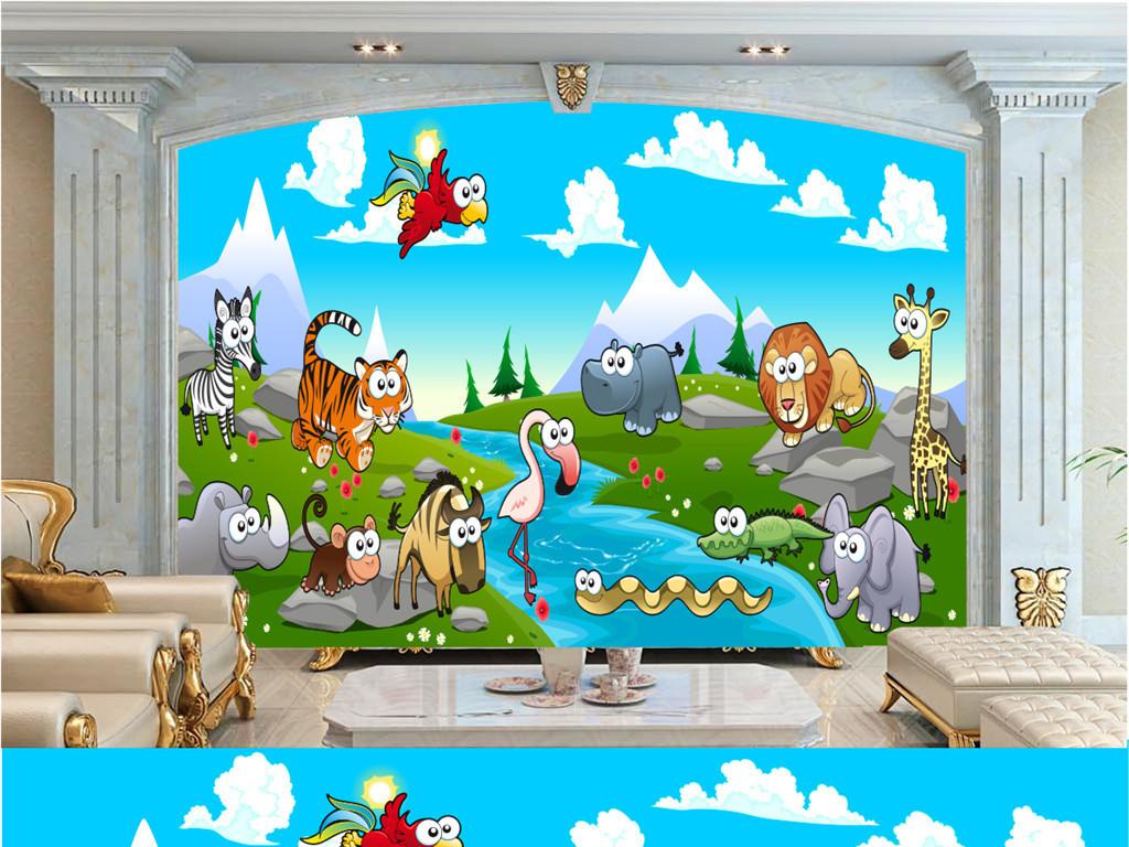 卡通动物世界矢量儿童房壁画背景墙
