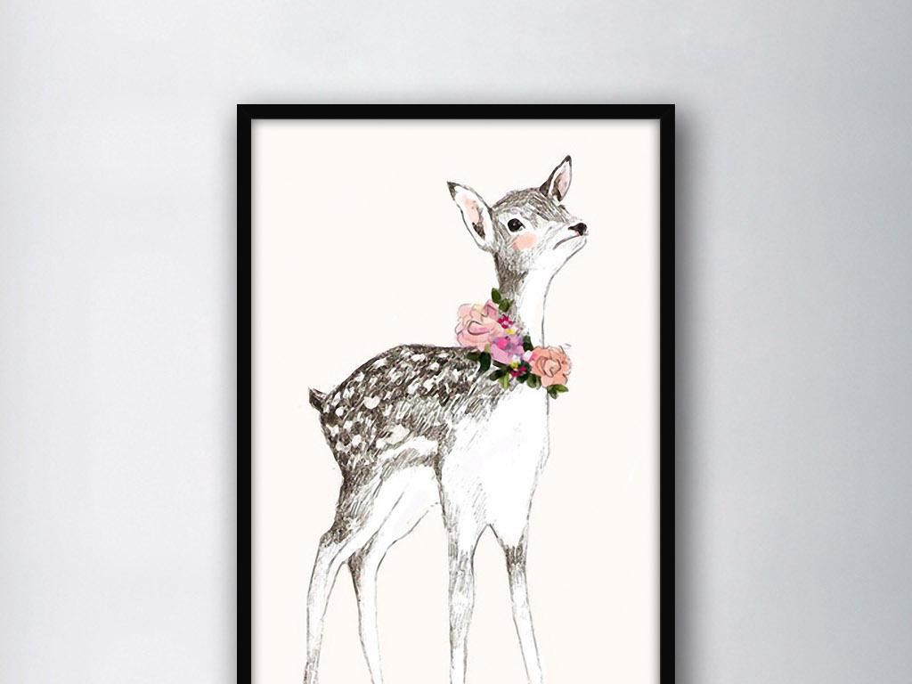 动物图案无框画 > 戴花环的小鹿北欧简约手绘水彩