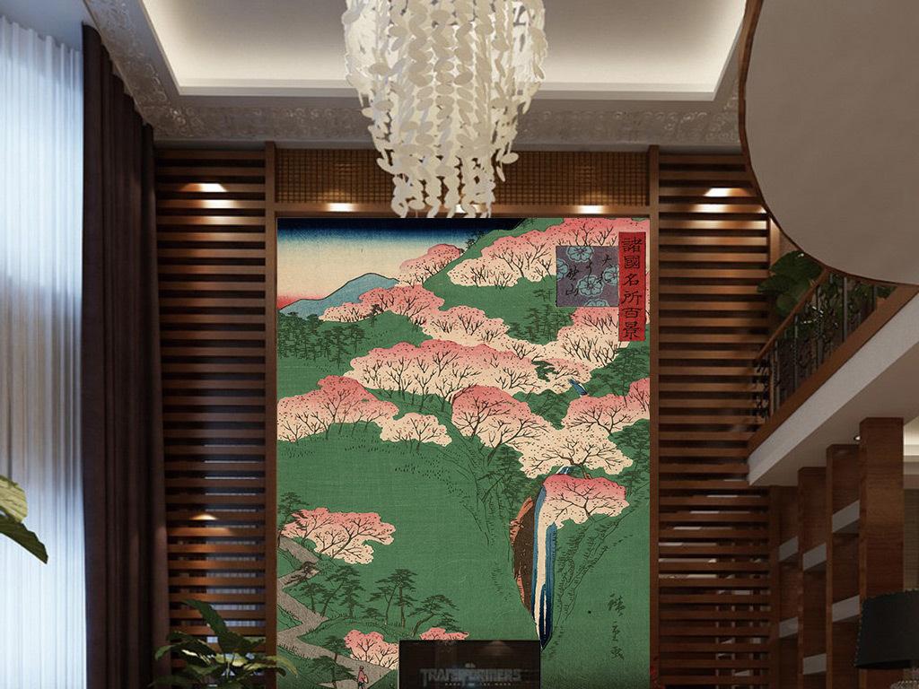 复古日本樱花树玄关背景墙