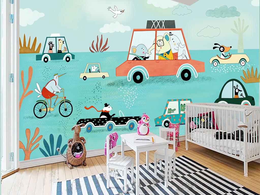 手绘可爱环保动物卡通车背景墙