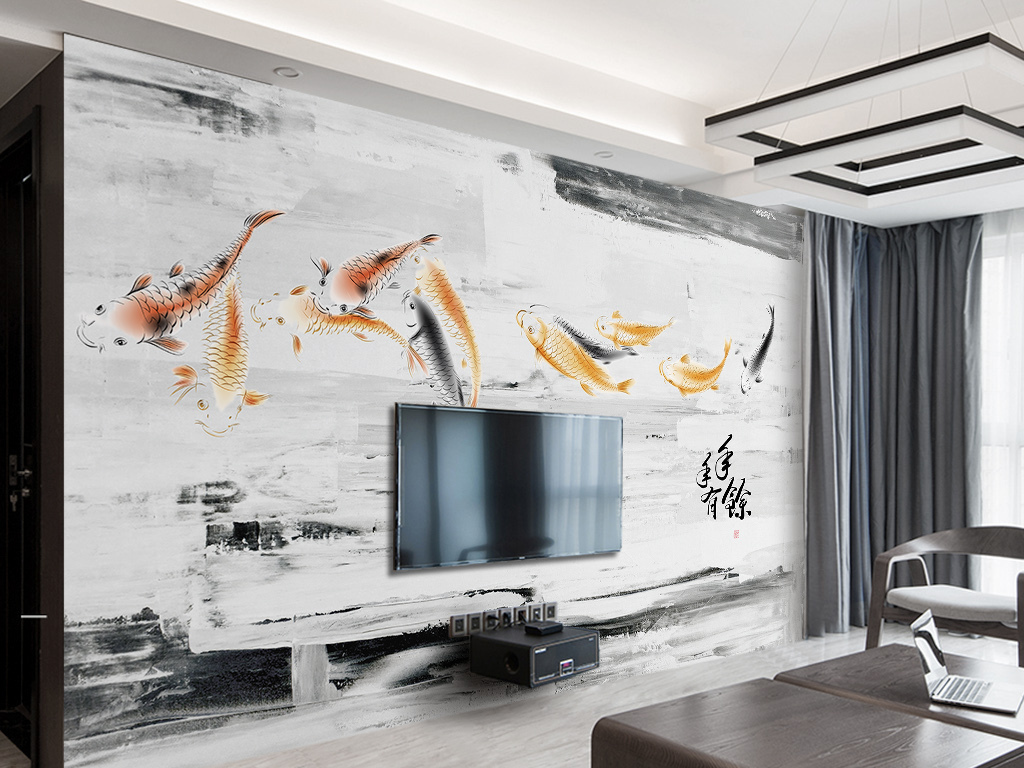 典雅新中式鲤鱼黑白油画电视背景墙图片