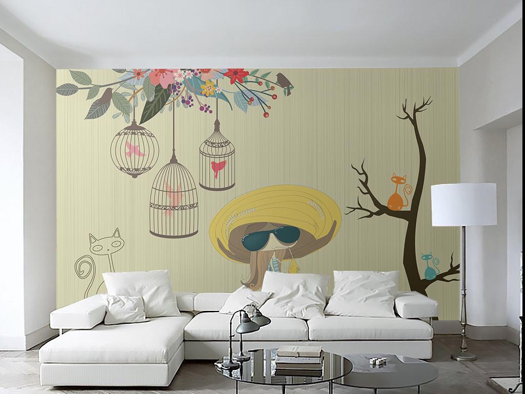 可爱壁画墙纸素雅背景墙手绘背景墙卡通背景简约背景