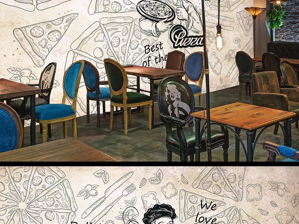手绘简约披萨背景墙(图片编号:15875878)