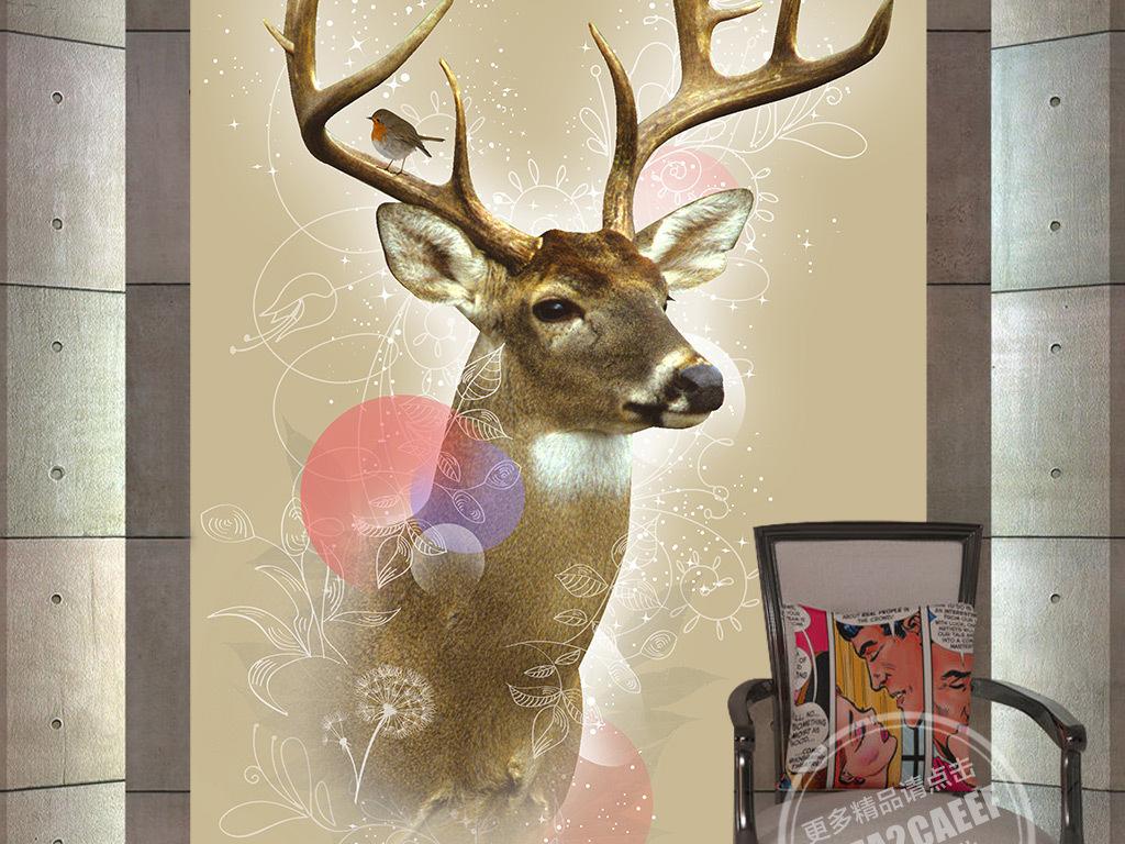 麋鹿创意时尚创意鹿角森林鹿角图片素描鹿角鹿角手绘