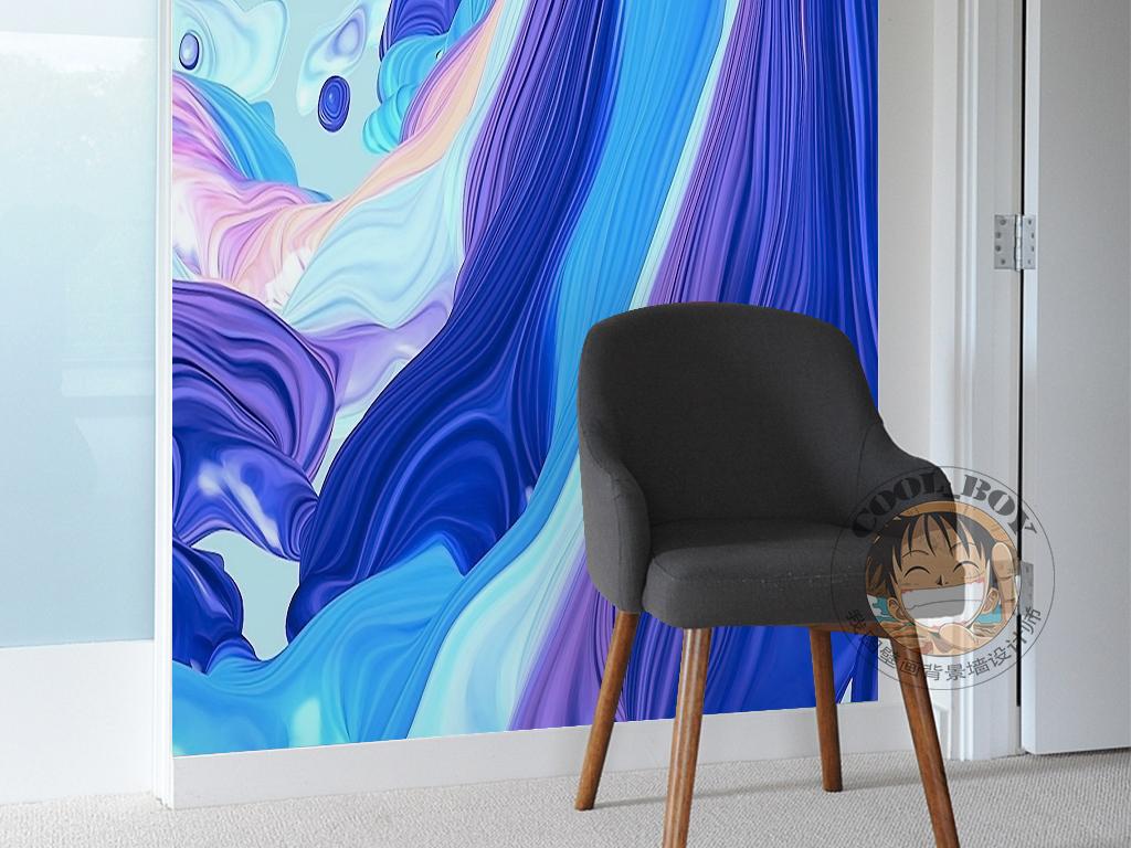 蓝色海洋丝绸海水动感绘画抽象装饰画图片