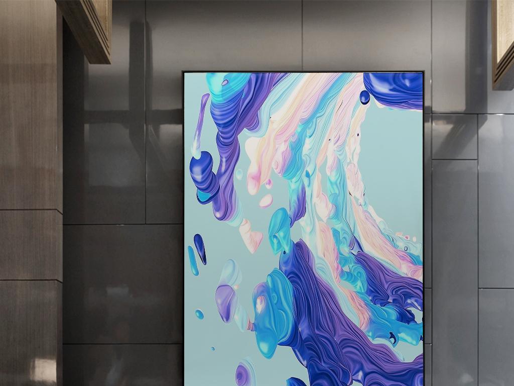 蓝色抽象绘画彩色梦幻海洋艺术装饰画图片