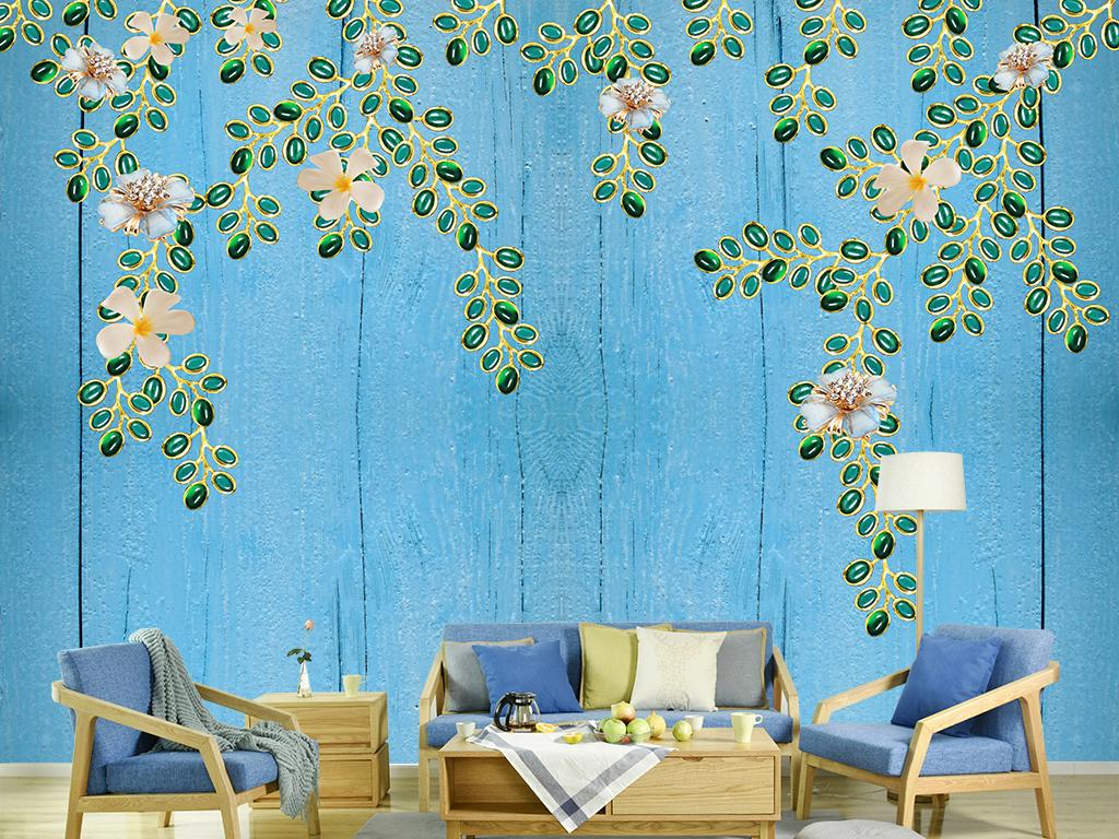 欧式花藤木板简欧珠宝装饰背景墙