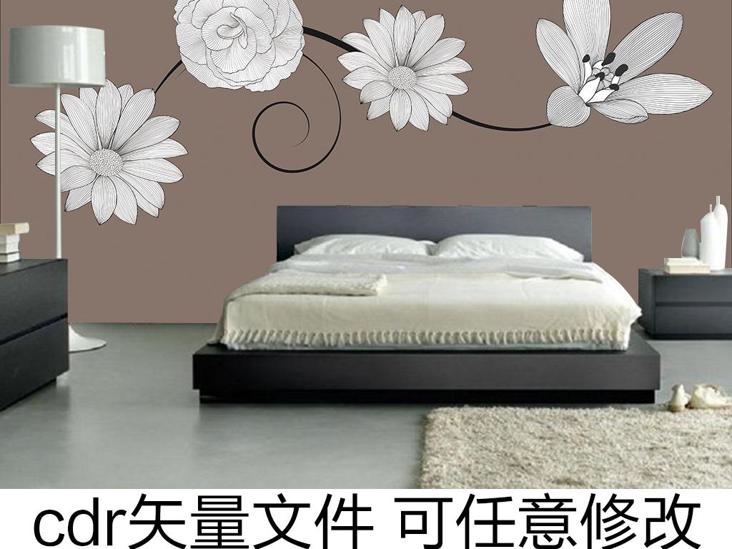 手绘风手绘线条线条花卉简约风格简约名片简约背景