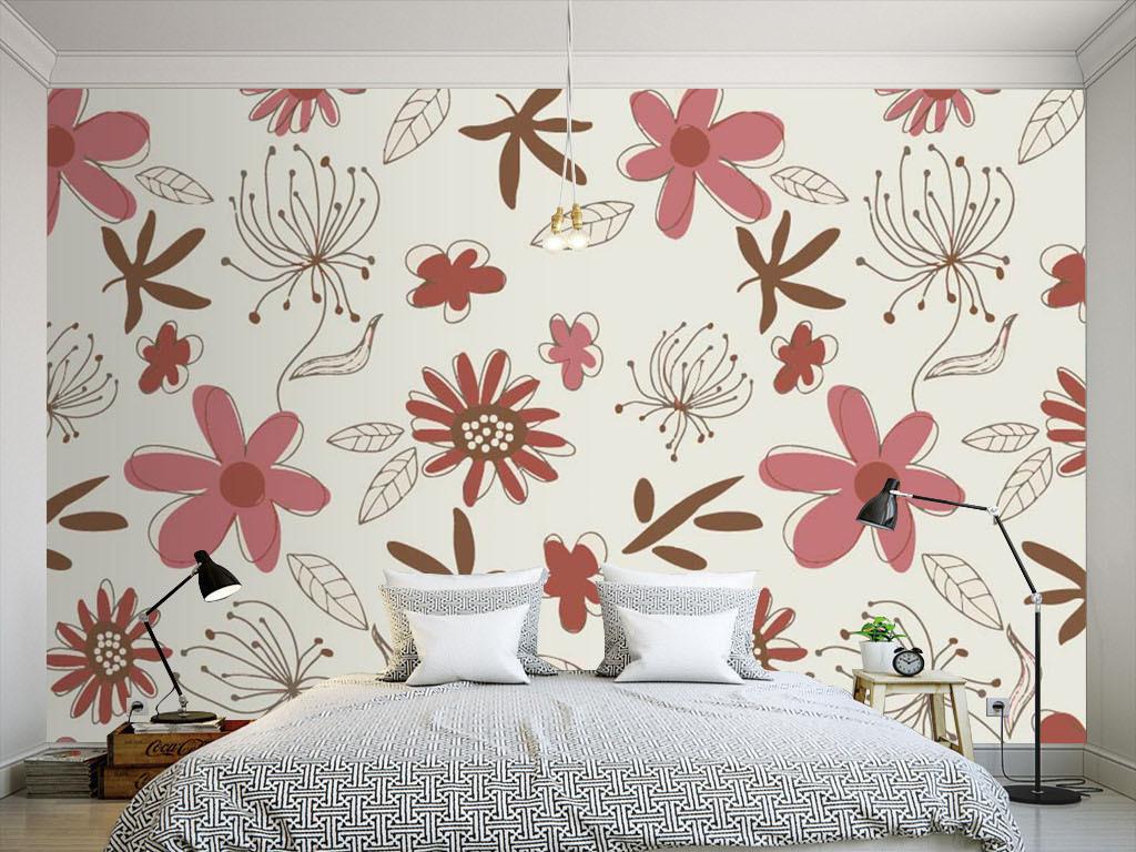 现代简约手绘花朵墙纸