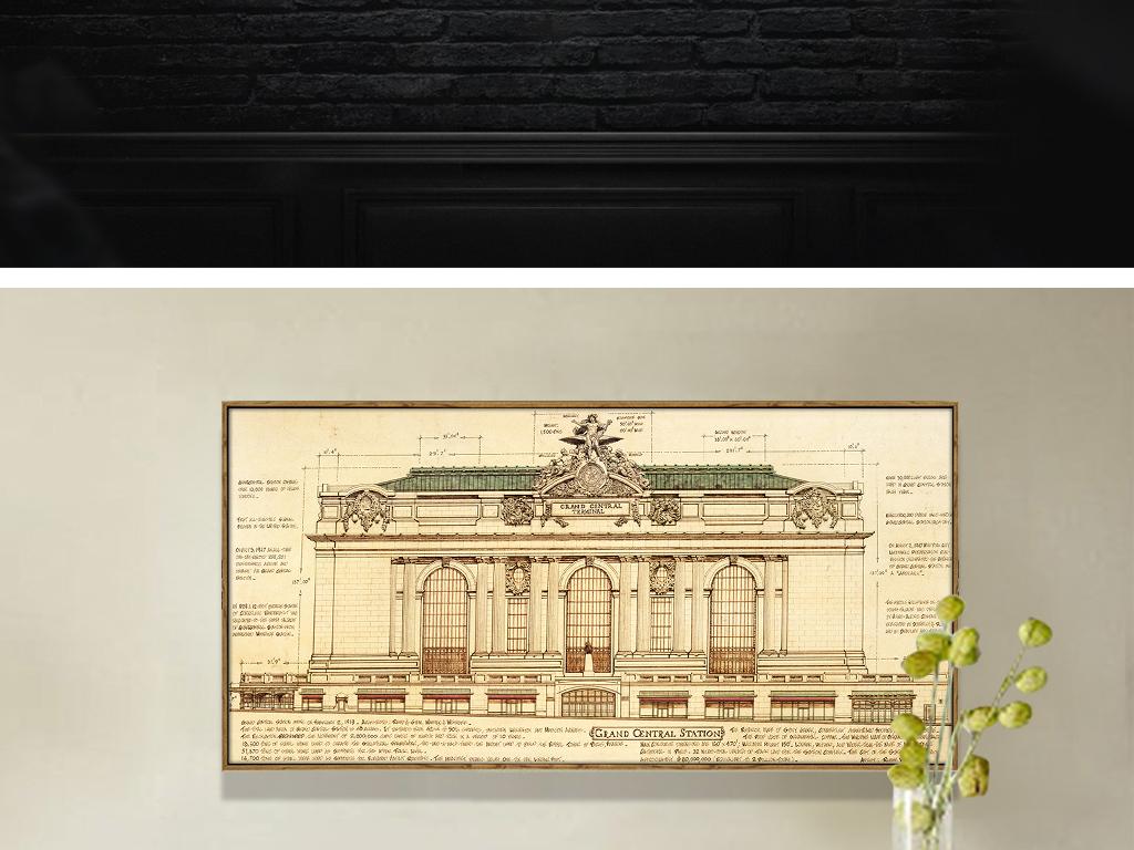 复古欧美手绘建筑线稿无框画