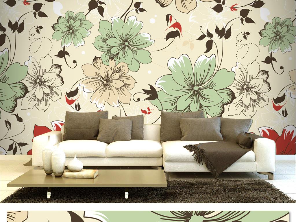 花朵线条手绘电视背景墙优雅大花卧室壁画