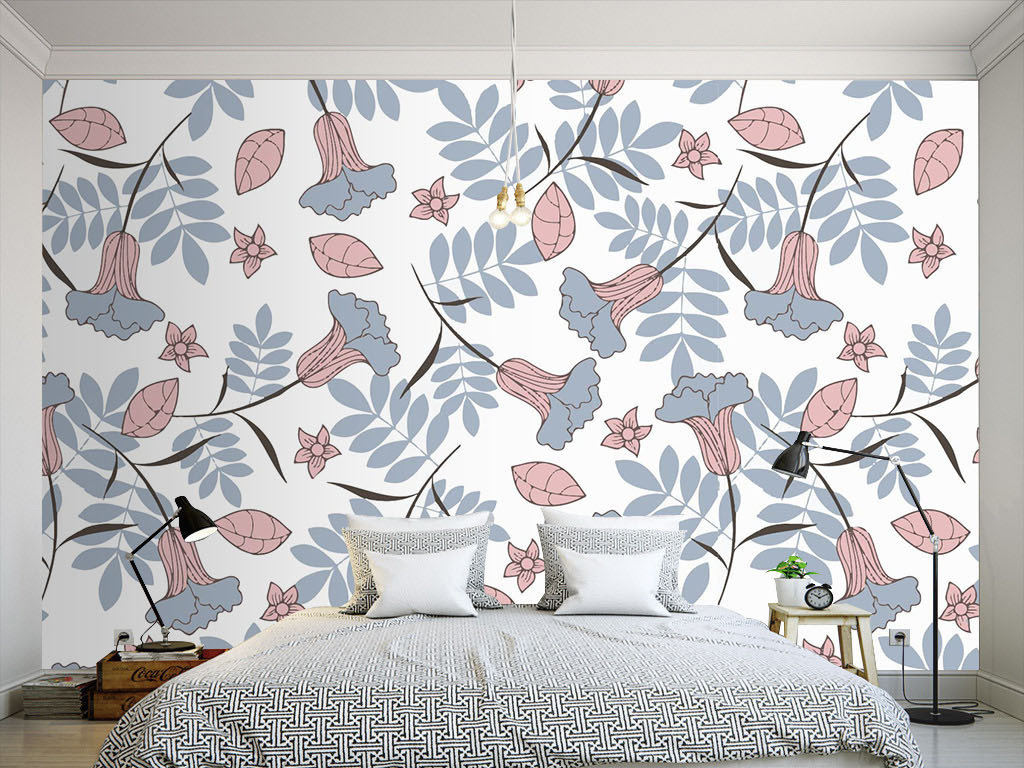 现代简约淡雅手绘花朵墙纸
