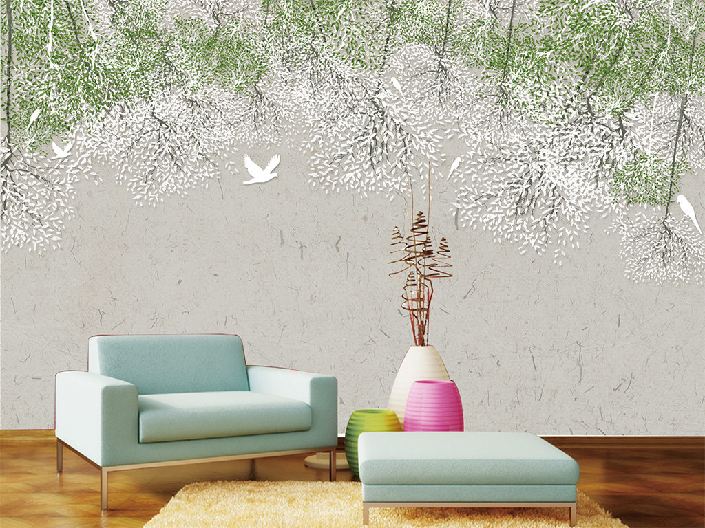 现代简约手绘北欧清新花卉背景墙装饰画