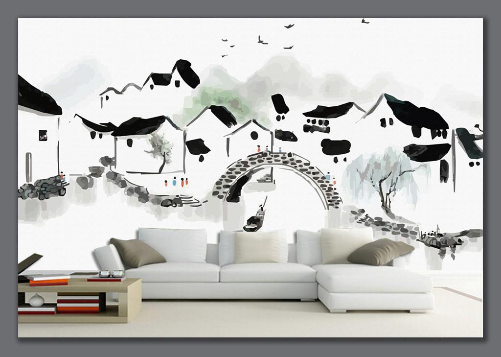 背景墙 电视背景墙 手绘电视背景墙 > 手绘江南水乡水墨画背景墙