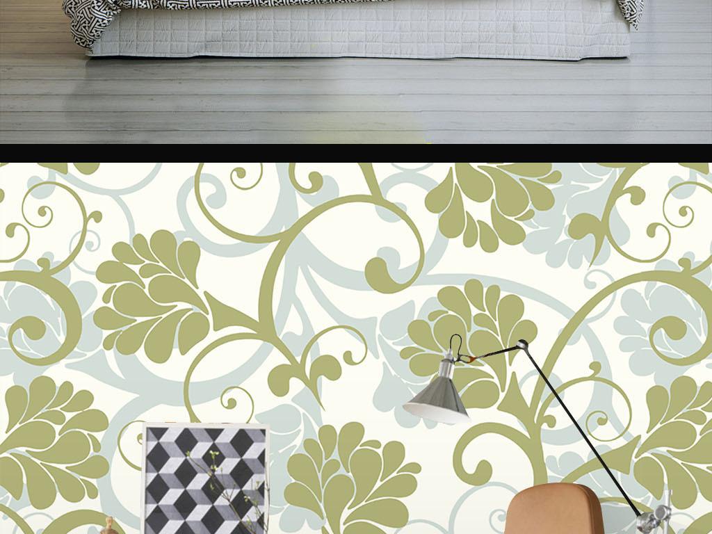 现代简约手绘花纹墙纸