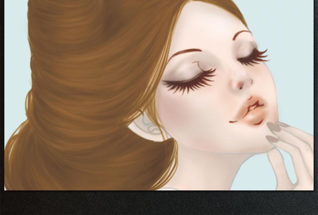 原创手绘水彩美女美妆店背景墙