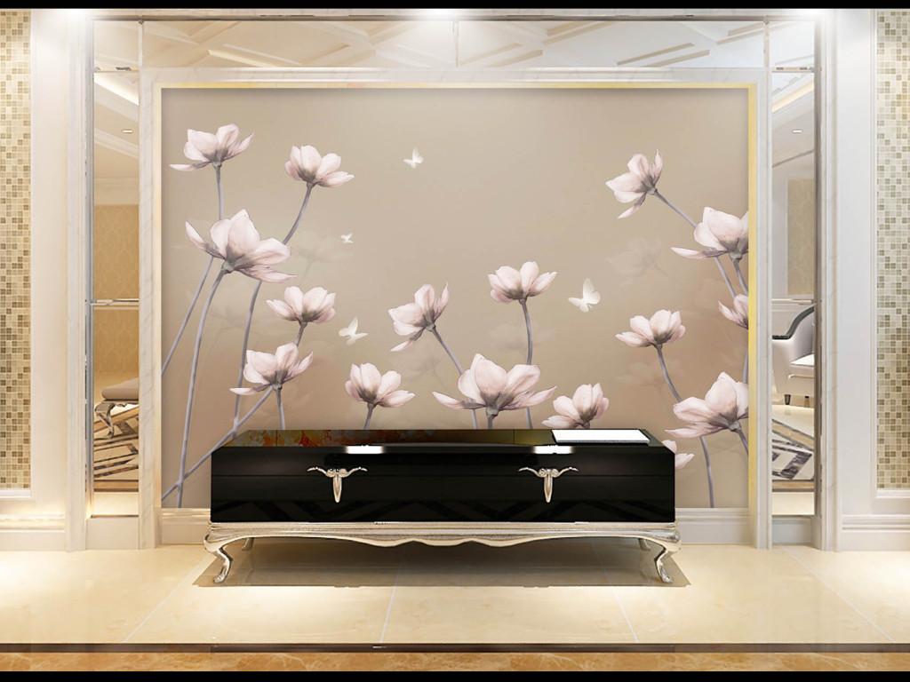 手绘唯美白花复古背景墙