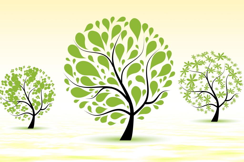 温馨暖黄色清新小树屹立简约设计海报图