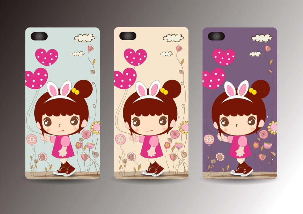 可爱卡通小女孩手机壳图案设计