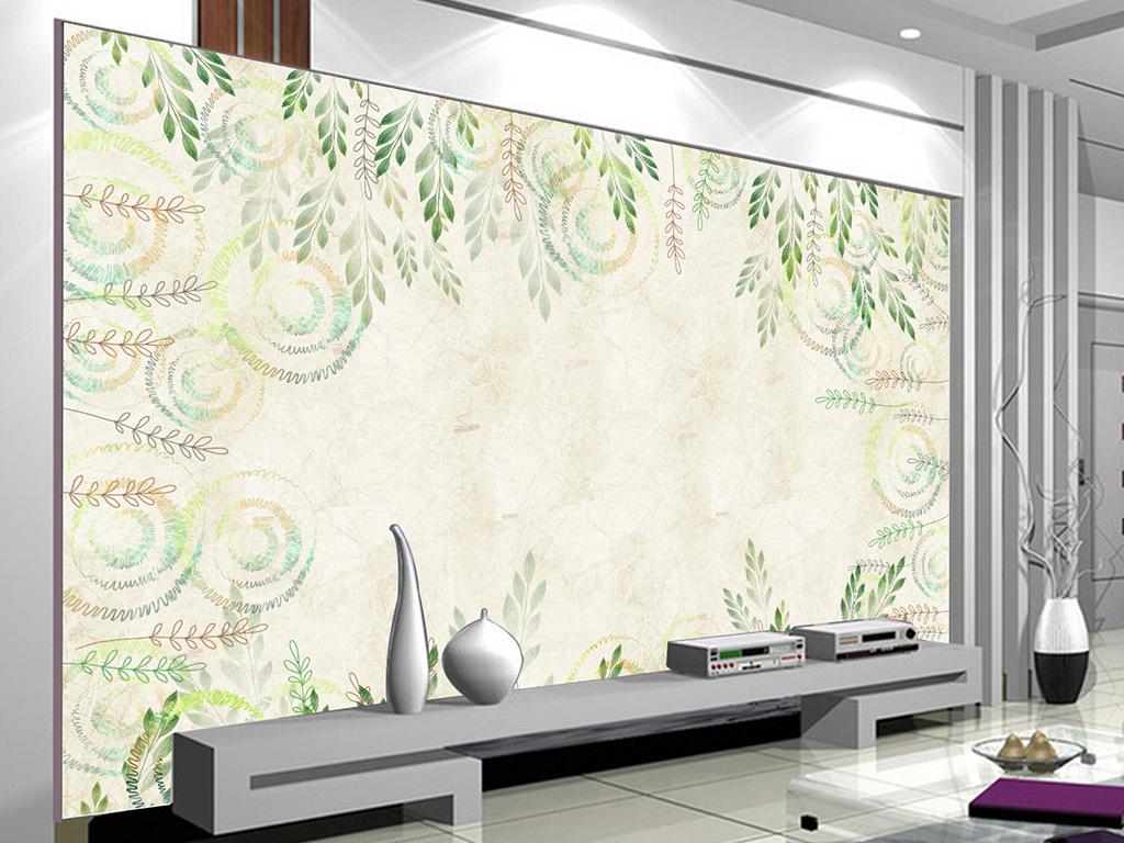 壁纸墙纸北欧欧式藤蔓唯美简欧时尚素雅极简