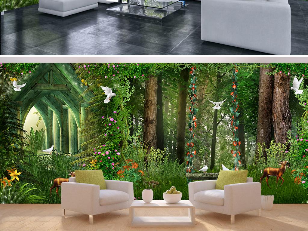 童话森林梦幻小屋秋千花藤全屋背景墙壁画图片