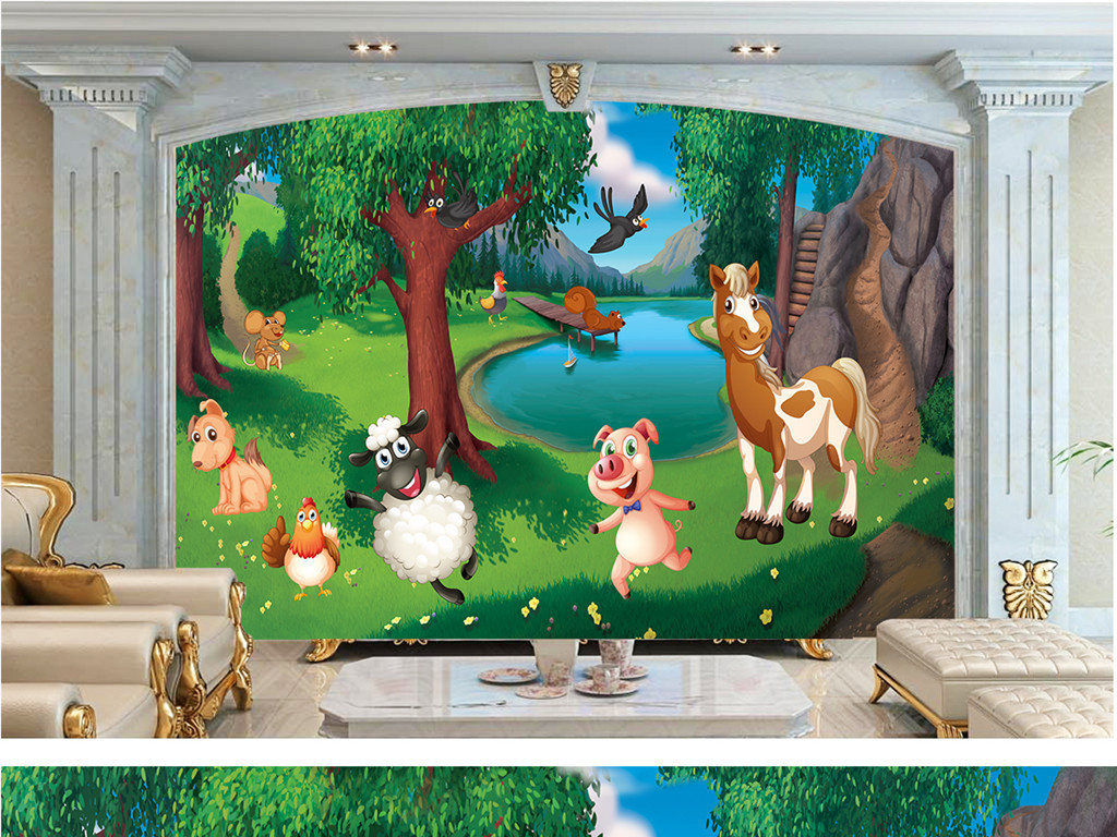 手绘卡通动物背景墙