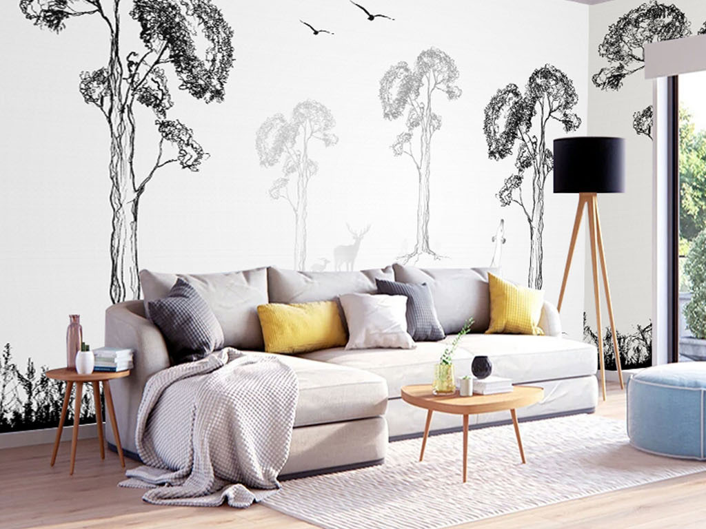 背景墙 电视背景墙 现代简约电视背景墙 > 北欧简约手绘抽象树背景墙图片