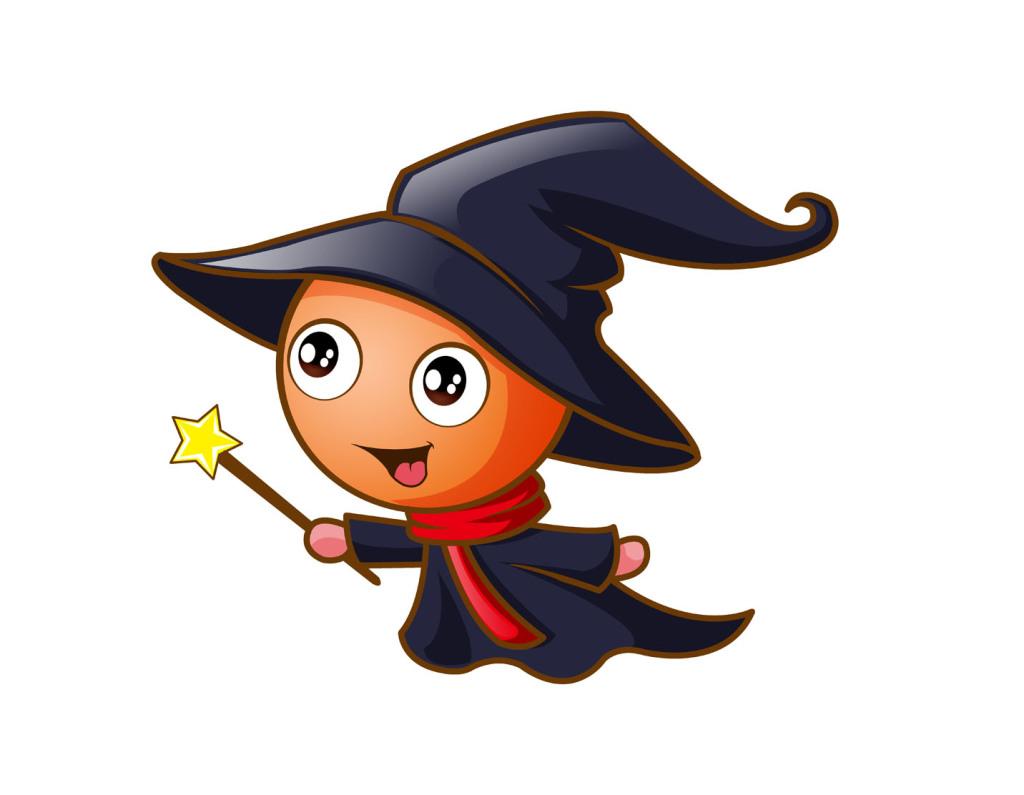 psd)卡通小巫师可爱小巫师小巫师形象魔法小巫师小