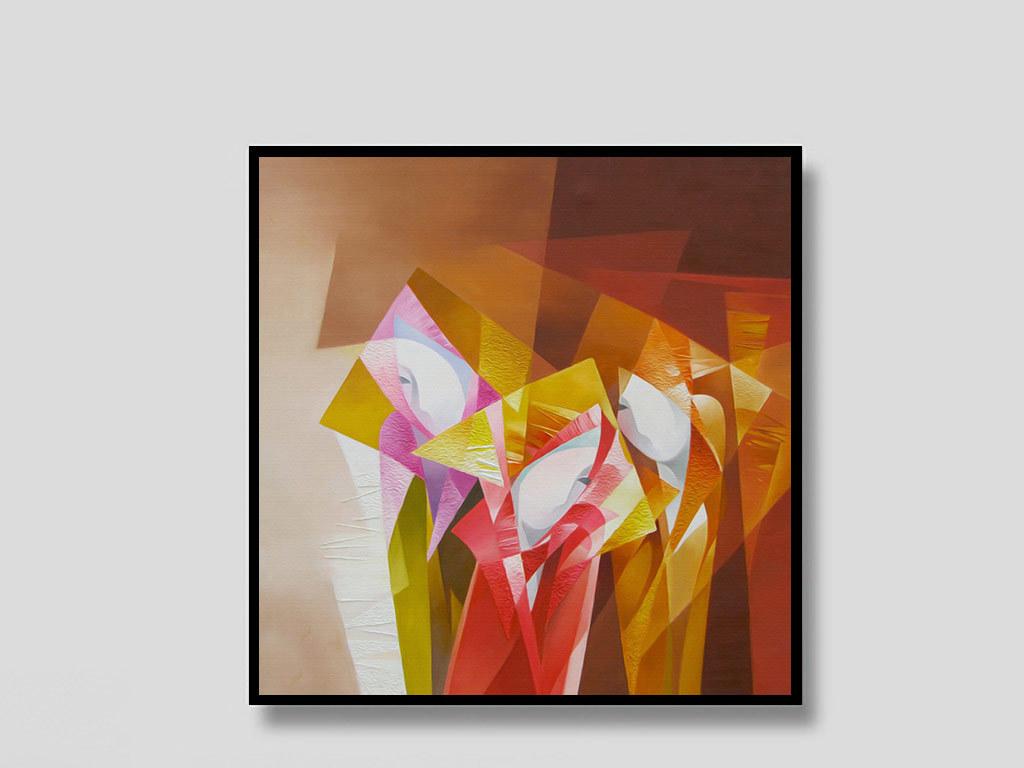 抽象手绘几何体美女无框画