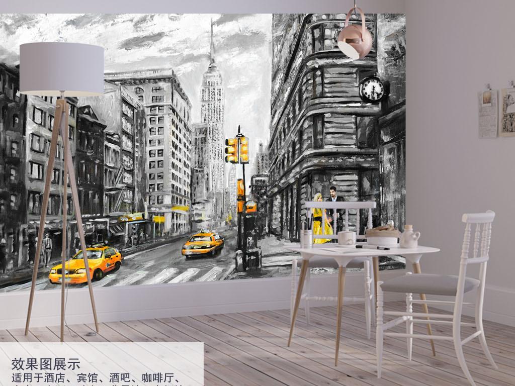 时尚梦幻浪漫花卉花朵手绘水彩美式地标建筑纽约街景出租车情侣黑白