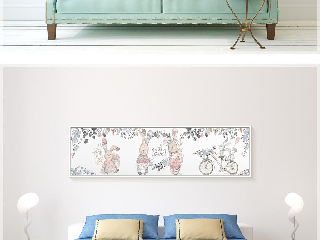 北欧简约手绘小兔子树叶可爱儿童房装饰画