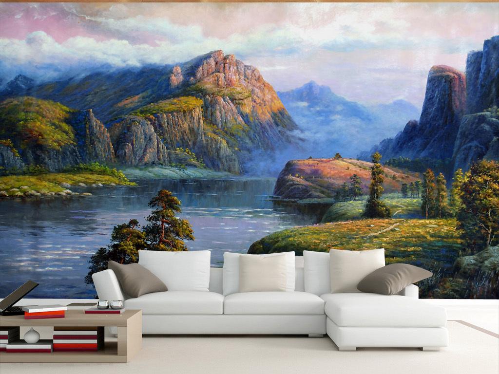 欧式风格装修客厅的风景油画