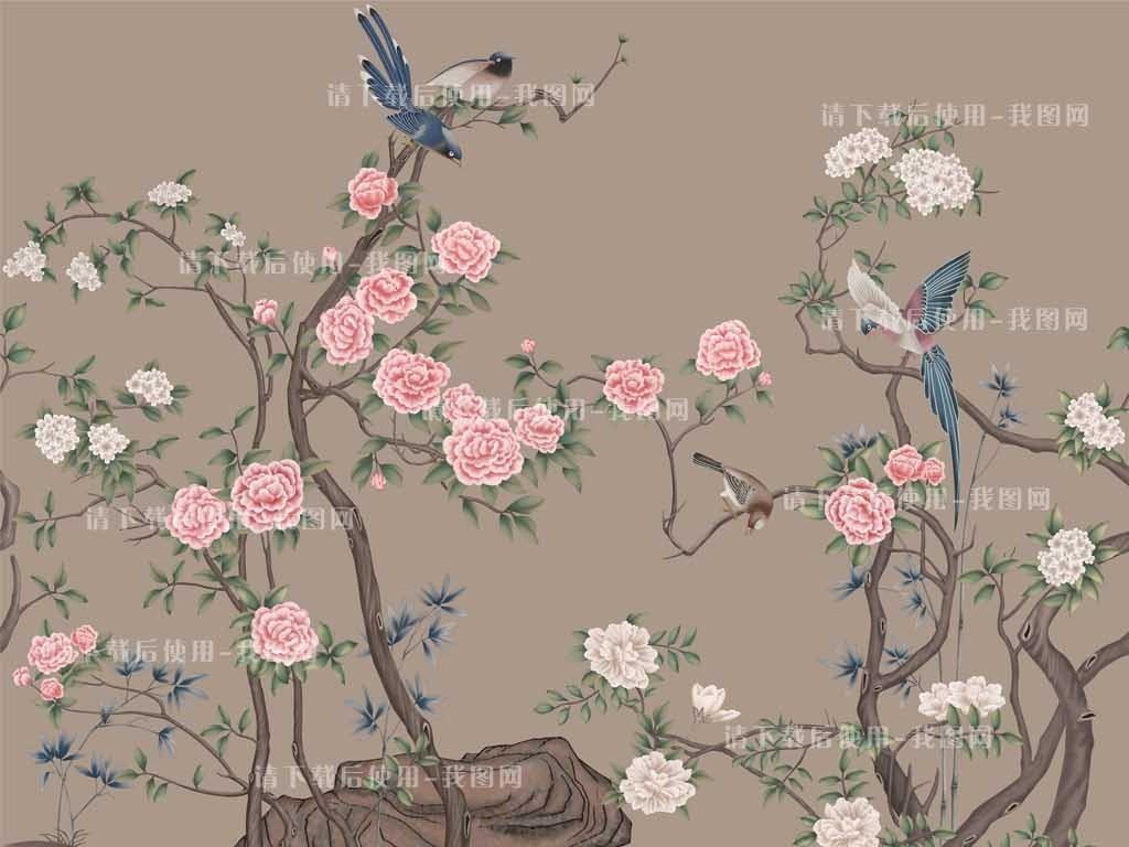 超大尺寸高清手绘花鸟图