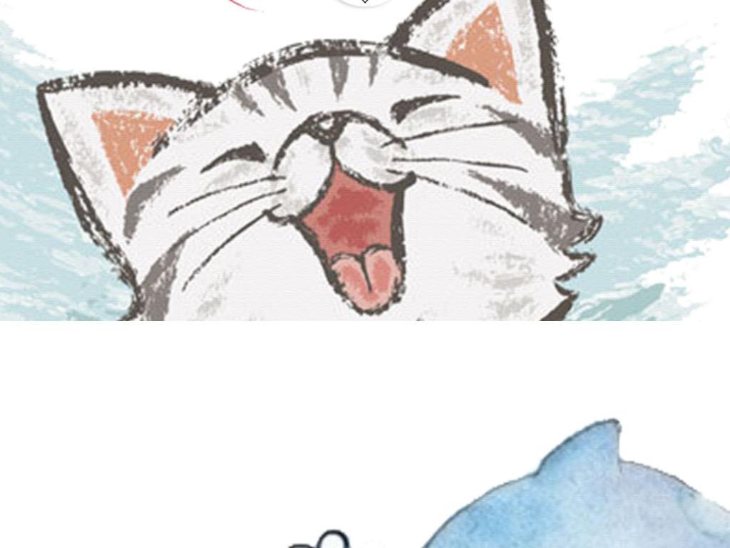 可爱猫咪手绘鱼装饰画简约装饰画简约手绘猫咪手绘装饰画小鱼手绘猫咪