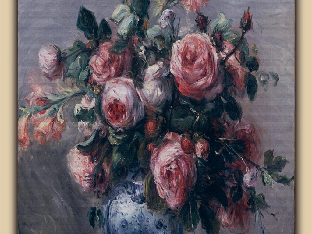 油画花卉古典艺术玄关图片