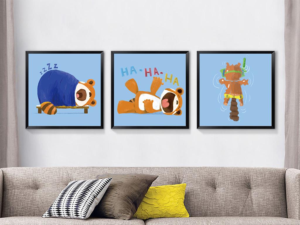 可爱贝占风格时尚卡通动物油画装饰画