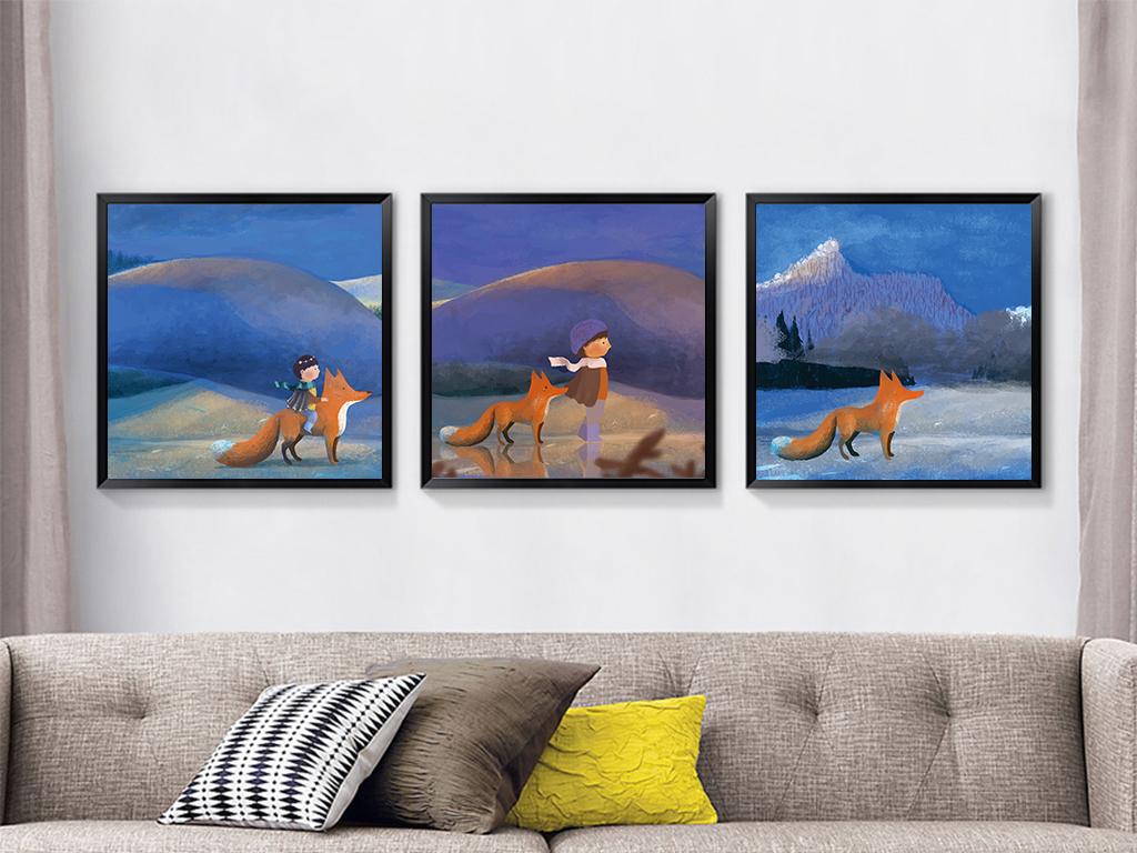 现代温馨贝占风格时尚卡通动物装饰画油画