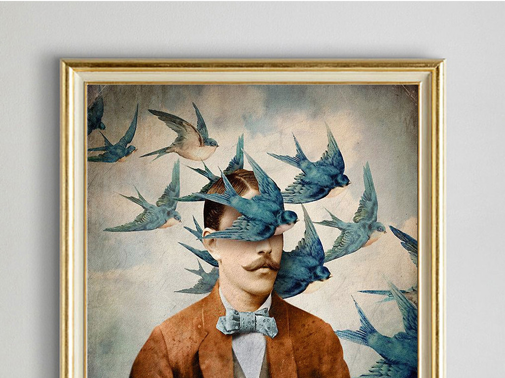 北欧风格人物创意幻想油画装饰画图片