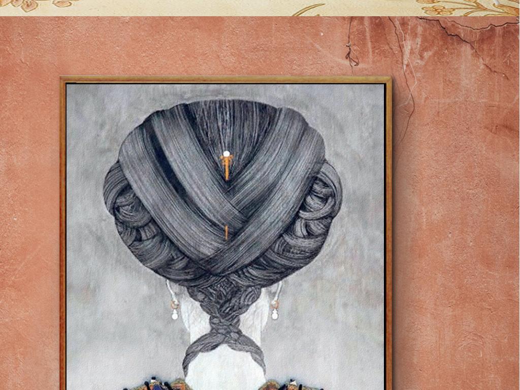 背景墙|装饰画 油画 人物油画 > 新中式美女人物背影艺术油画玄关走廊图片