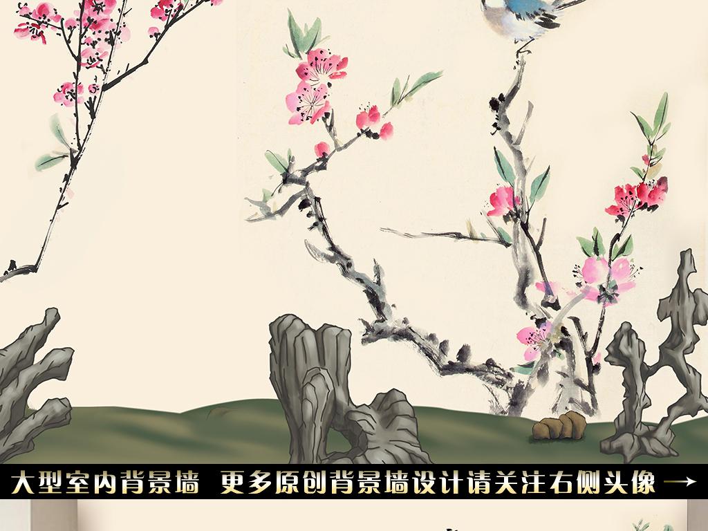手绘花鸟山水背景墙