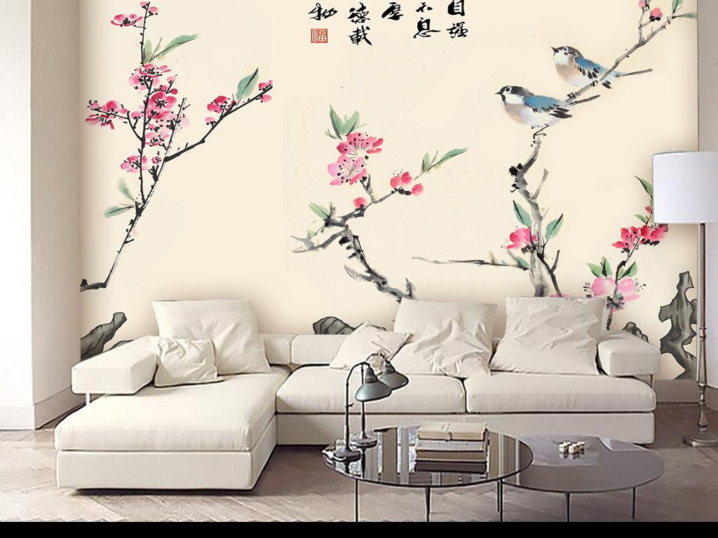 背景墙 电视背景墙 手绘电视背景墙 > 手绘花鸟山水背景墙  素材图片