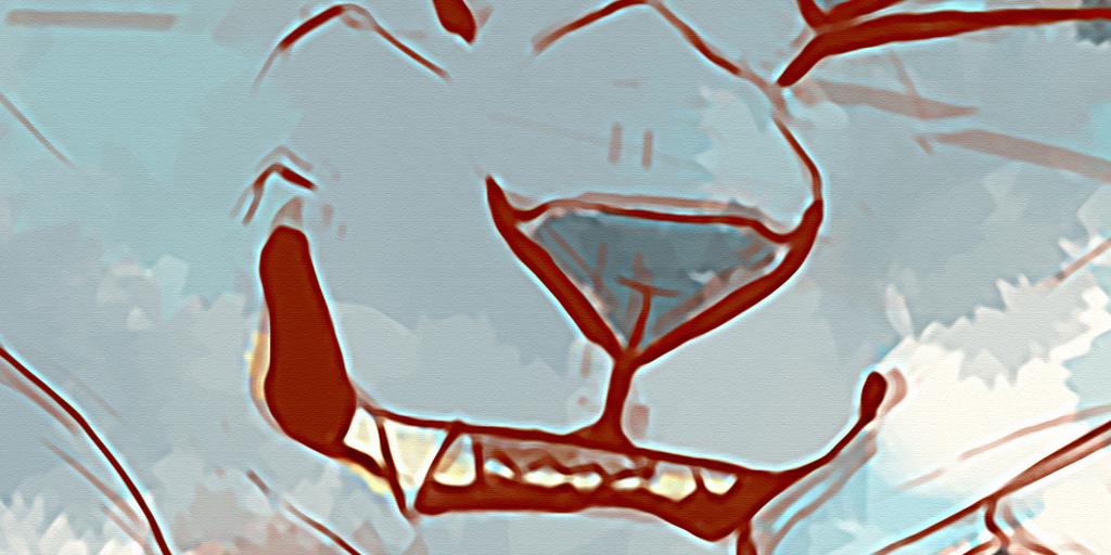 高清手绘卡通动物狼三联抽象无框装