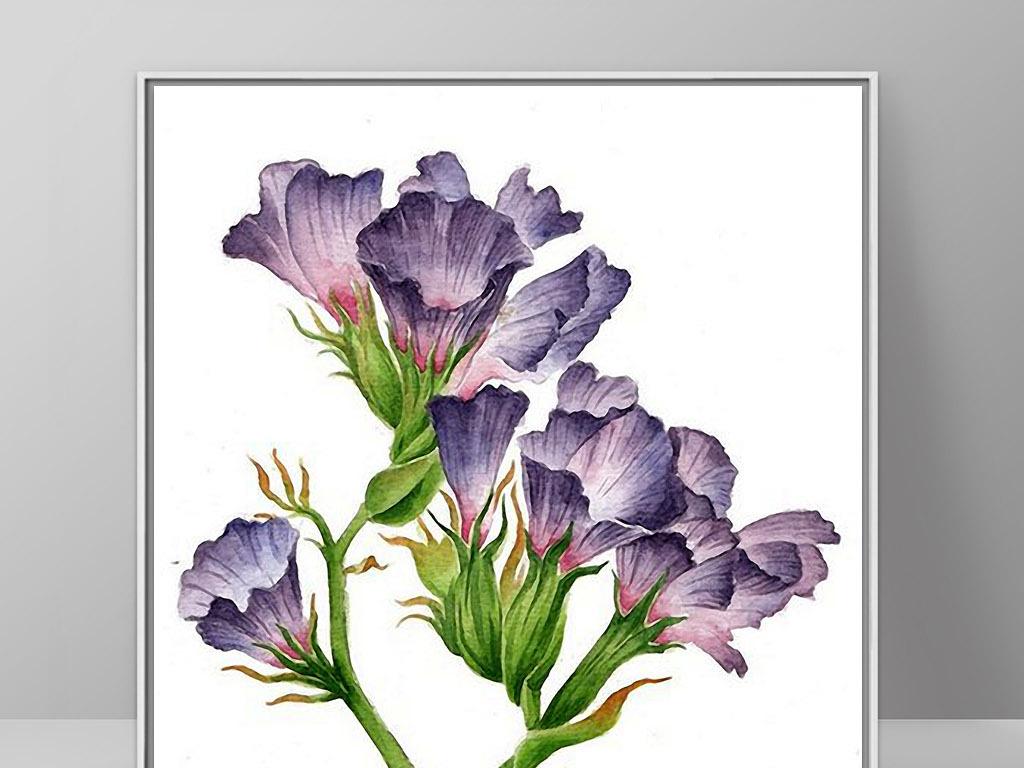 花卉手绘水彩画欧式现代简约家居装饰画
